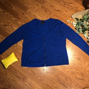 Lane Bryant | blue zip up cardigan